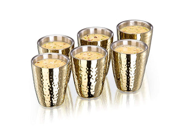 Sanjeev Kapoor Double Walled Stainless Steel Tumbler Set, 240ml, 6-Pieces, Gold Titanium