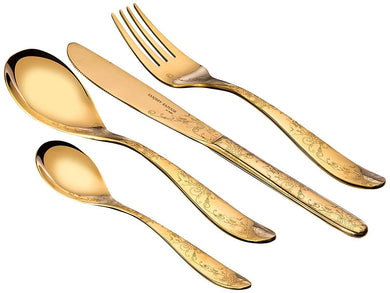 Sanjeev Kapoor Arc Stainless Steel Cutlery Set, 24-Pieces, Gold Titanium | Cutlery Set