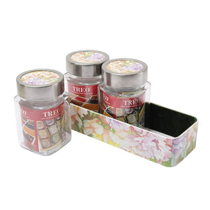 JVS Counter Organiser Treo Jars Lavender, 310 ml , Multicolour, 3 jars-1 stand - SmartServe Houseware