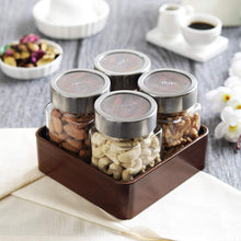 Load image into Gallery viewer, JVS Counter Organiser Treo Jars Walnut, 310 ml , Multicolour, 4 jars-1 stand