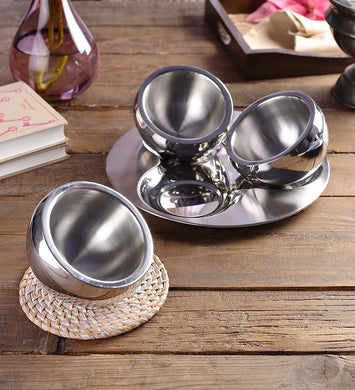 Sanjeev Kapoor Stainless Steel Bowl and Tray Set, 3 Bowl and 1 Tray