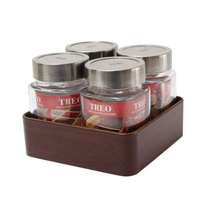 JVS Counter Organiser Treo Jars Walnut, 310 ml , Multicolour, 4 jars-1 stand - SmartServe Houseware