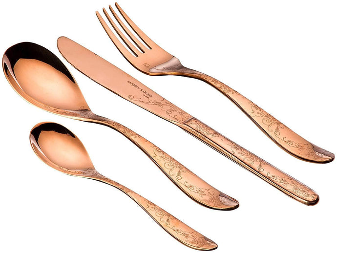 Sanjeev Kapoor Arc Stainless Steel Cutlery Set, 26-Pieces, Rose Gold Titanium | Cutlery Set