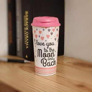 Stallion Designer Tumbler With Lid Multicolour - 475 ml - LOVE YOU TO THE MOON & BACK