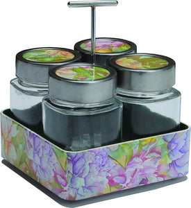 JVS Revolving Organiser Treo Jars Lavender, 310 ml , Multicolour, 4 jars-1 stand-1 handle