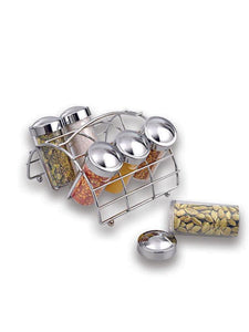 SPICE RACK 6 JAR Chrome