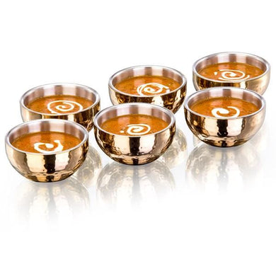 Sanjeev Kapoor Double Walled Stainless Steel Bowl Set, 6-Pieces, Rose Gold Titanium