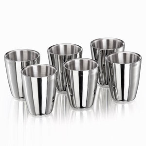 Sanjeev Kapoor Double Walled Stainless Steel Tumbler Set, 240ml, 6-Pieces, Premium Mirror Finish | Juice & Water glass