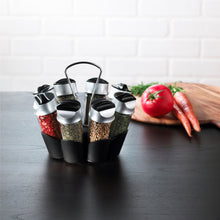 Load image into Gallery viewer, Trudeau Glass Bottle Flower Spice Rack Set, Set of 8, Black