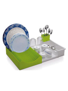 Waves Extendable Dish Drainer -Green