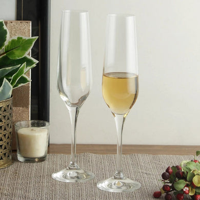 Bohemia Crystal Non Lead Crystal Rebecca Champagne Flute 195 ML Set of 6 pcs, Transparent, Non - Lead Crystal | Champagne Flute