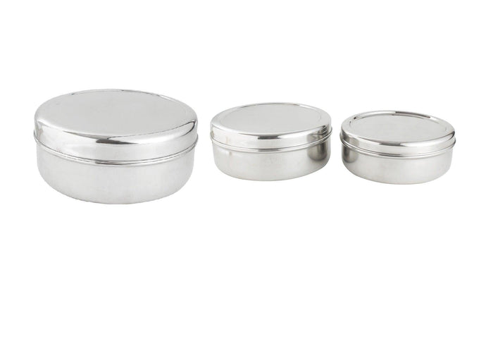 Smartserve Stainless Steel Sadda Puri Dabba Food Storage Containers, Set of 3