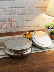 Smartserve Stainless Steel Dabba Food Storage Containers, (Set of 2- 17cm Dia & 19cm Dia)