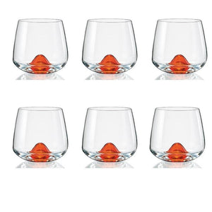 Bohemia Crystal Island Whiskey Glass, 6 Pieces, Orange Base, 310 ml