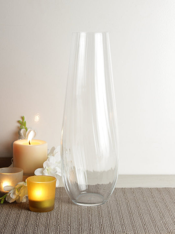 Bohemia Crystal Non lead Crystal Vase waterfall 340mm set of 1 pcs , Transparent - SmartServe Houseware