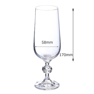 Bohemia Crystal Claudia Champagne Flute Drinking Glass 180ml Set of 6 pcs, Tranparent, Non Lead Crystal