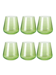 Bohemia Crystal Siesta Full Green Whiskey Drinking Glass 400 ml, Set of 6 Pcs, Non Lead Crystal