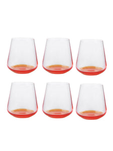Bohemia Crystal Crystal Siesta Whiskey Glass, 400 Ml, Set of 6, Orange Base