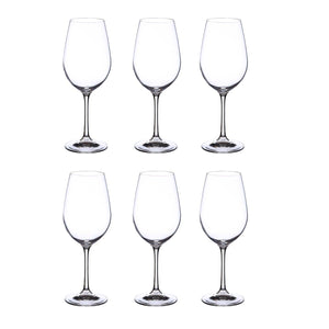 Bohemia Crystal Viola Wine Glass Set, 450ml, Set of 6pcs, Transparent, Non Lead Crystal Glass