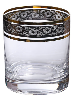 Bohemia Crystal Barline Whiskey Glass Set, 280ml, Set of 6pcs, Gold Colour, Non Lead Crystal Glass