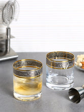 Load image into Gallery viewer, Bohemia Crystal Barline Whiskey Glass Set, 280ml, Set of 6pcs, Gold Colour, Non Lead Crystal Glass - SmartServe Houseware