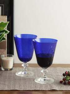 Bohemia Crystal Bella Dark Blue Pantograph cocktail glass 350 ML set of 6 pcs , Transparent , Non - lead Crystal | Cocktail Glass