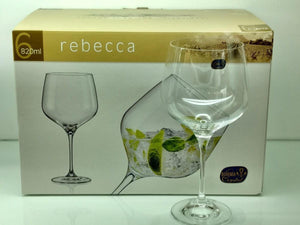 Bohemia Crystal Non Lead Crystal Rebecca Wine Glass 820 ML Set of 6 pcs, Transparent, Non - Lead Crystal