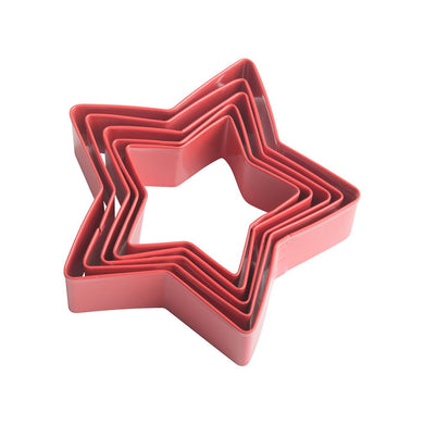 Trudeau Stainless Steel Star Cookie Cutter Set, Set of 5, Red