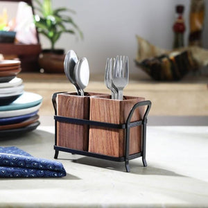 JVS Duo Cutlery Holder Brown in Wood Material with Black Stylish Iron Stand