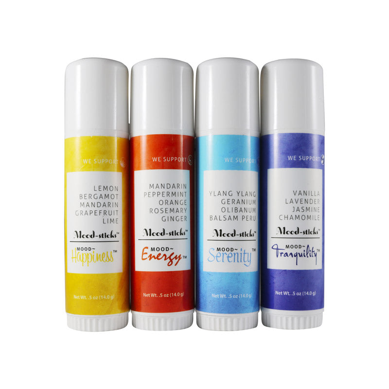 The Mood Factory Energy, Tranquility, Happiness, Serenity Mood-Stick Natural Aromatherapy Scent Balm with Essential Oils 4 pc Assortment