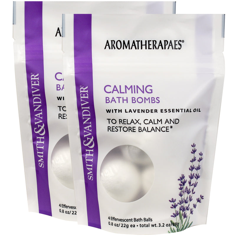 Aromatherapaes Calming 4 pc Bath Bomb Pouch 2 Pack