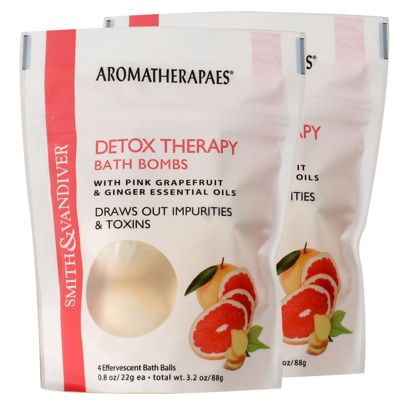 Aromatherapaes Detox Therapy 4 pc Bath Bomb Pouch 2 Pack