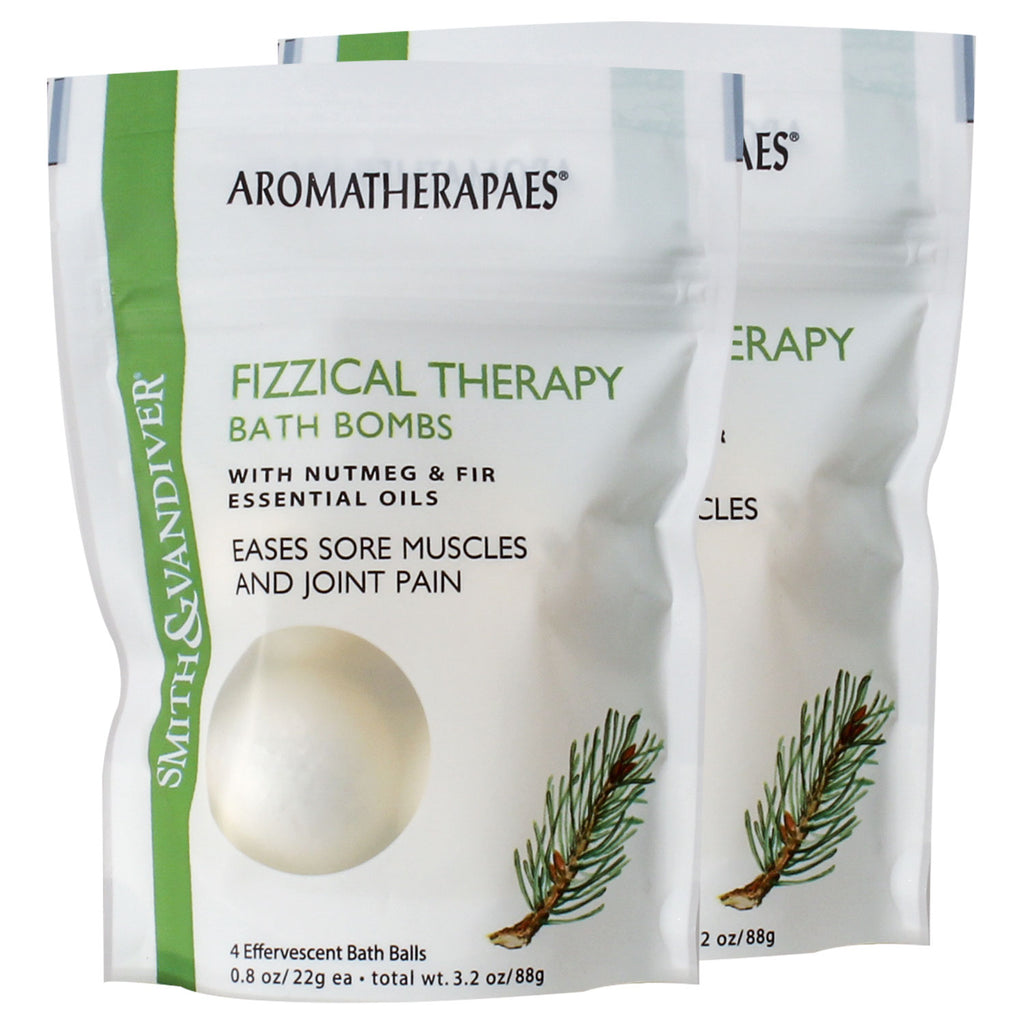 Aromatherapaes Fizzical Therapy 4 pc Bath Bomb Pouch 2 Pack