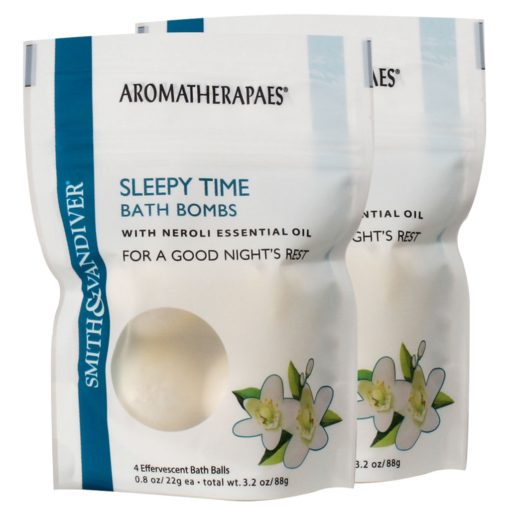 Aromatherapaes Sleepy Time 4 pc Bath Bomb Pouch 2 Pack
