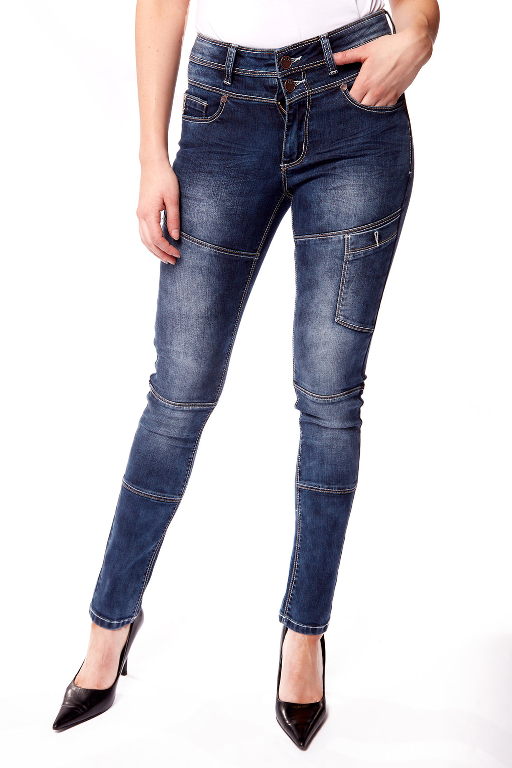 High Waist Skinny Jean with Waistband (FX-3991-REB)