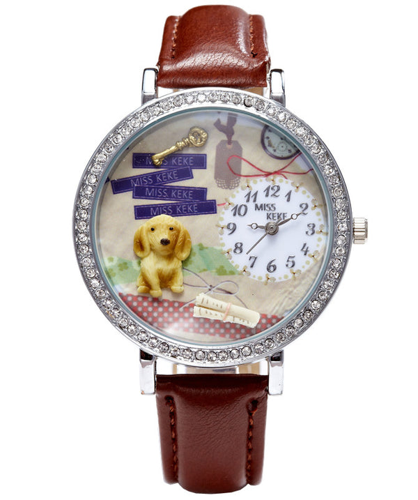3D Dog Women Rhinestone Watch