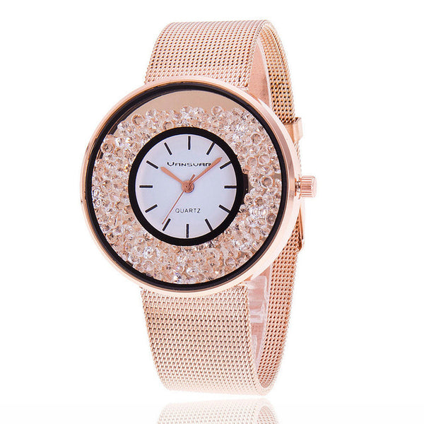 Women  Rhinestone Watch Rose
