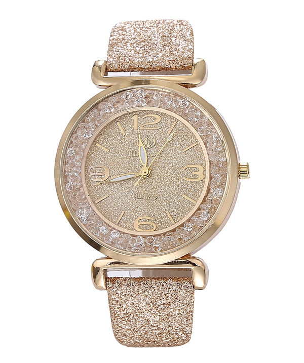 Women Reinforced Quartz Rhinestone Watch PU