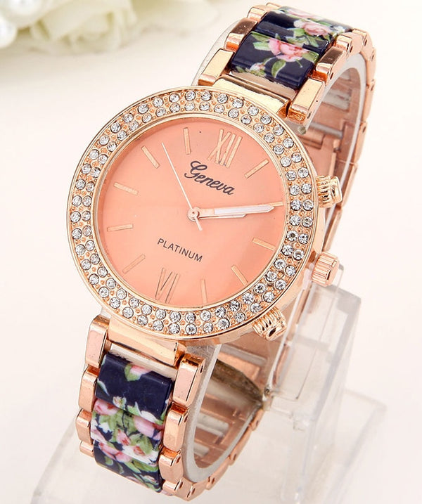 Crystal Sparkle Flowers Women Rhinestone Watch