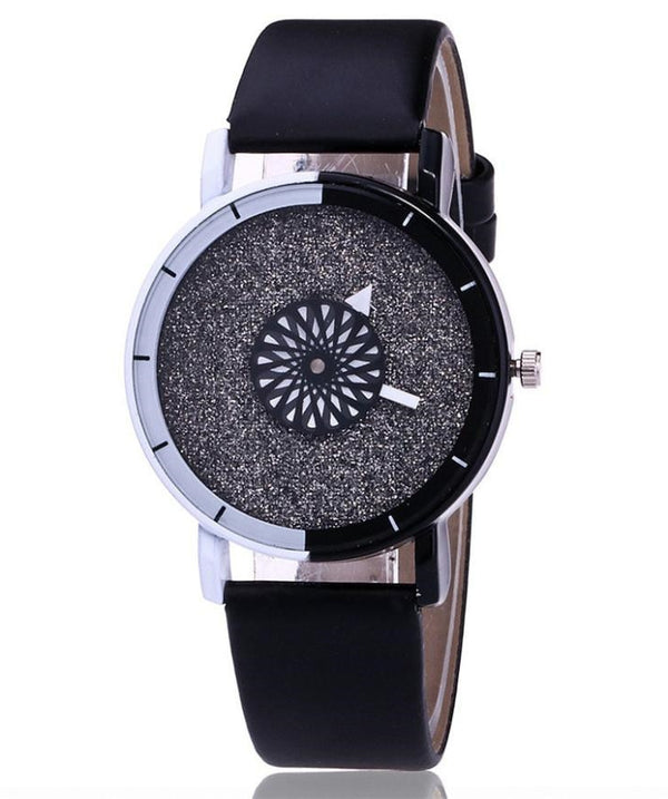 Women's Leather Watch Acrylic Black