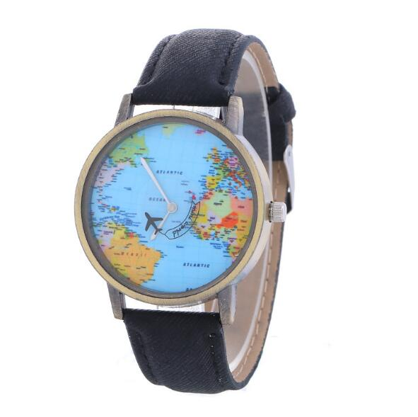 Airplane Globe Travel Watch