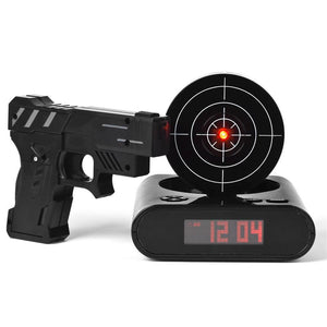Red Laser Shooting Pistol Target Digital Alarm Clock Device
