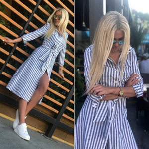 Womens Blue Striped Party Dress