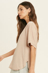 Button Detail Top - Mink