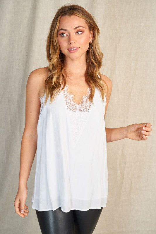 Lace Detail Tank - White