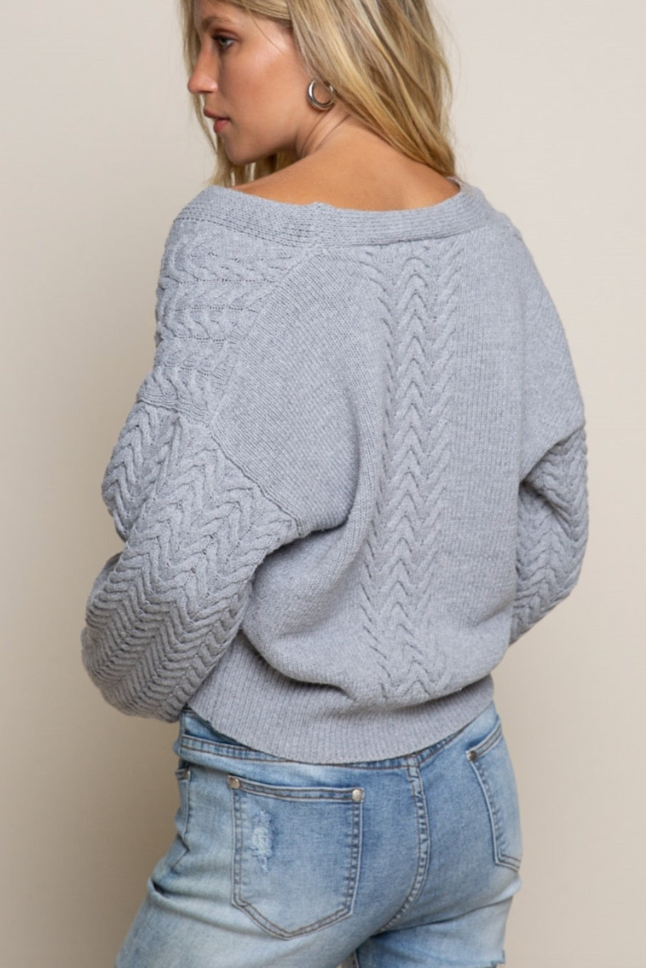 Grey Cropped Knit Sweater