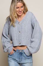 Load image into Gallery viewer, Grey Cropped Knit Sweater