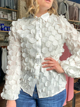 Load image into Gallery viewer, Geometric Feather Blouse - White