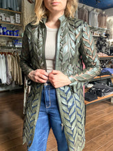 Load image into Gallery viewer, Leather Leaves Jacket - Metallic Olive