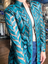 Load image into Gallery viewer, Leather Leaves Jacket - Teal
